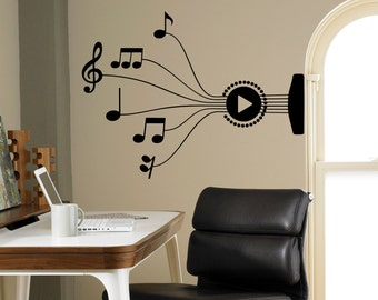 Guitar Strings Wall Decal Music Notes Vinyl Sticker for Wall Music Art Decor Home Interior Room Office Design 6(muc)