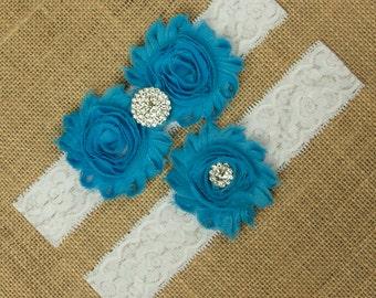 Wedding Garter, Blue Wedding Garter, White Lace Garter, Lace Garter Set, Lace Wedding Garter, Blue Bridal Garter, Garter Belt, SCWS-B03