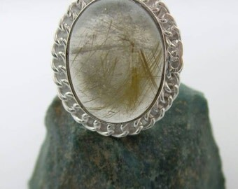 Rutilated Quartz Silver Alloy Ring, Size 7.75