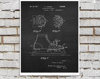 Ice Hockey Patent print #1 Hockey Skates toe guard invention art print, Boys room decor, Gift for Ice Hockey Player / Hockey fan