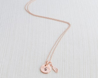 Rose Gold Initial & Feather Charm, Initial Jewelry, Rose Gold Plated Disc Necklace,  Rose gold Feather Necklace,  A great gift idea