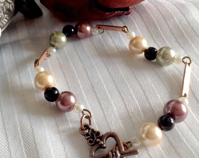 Glass Pearl & Copper Toggle Bracelet