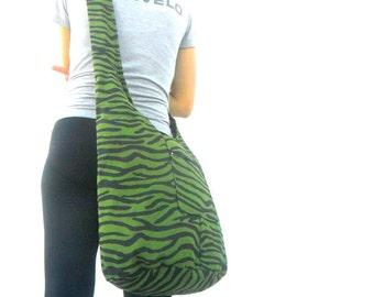 Sling Bag Shoulder Bag Hippie Hobo Zebra Color Bag Hobo Crossbody Bag Boho Bohemian Bag Purse Black Green Color Messenger Sling Gift Bag