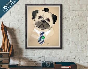 Poster Draw dog pug 8x8 Waterpaint Decoration Print Urban Animal Ateliercri