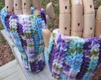 Purple, green and blue fingerless gloves