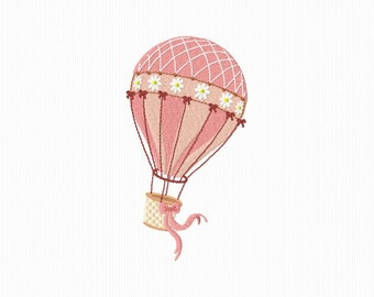 Embroidery pattern machine of a hot air balloon format 5 x 7