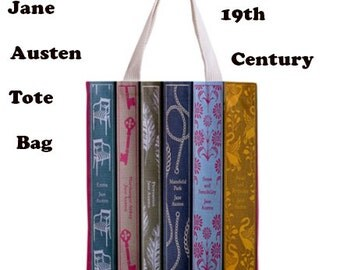 Jane Austen tote bag, 19th century, Tote bag, books, 19th century books,jane austen, bags, victorian literature