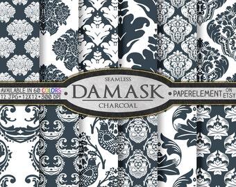 Charcoal Damask Digital Scrapbooking Paper Set - Printable Patterns - Instant Download