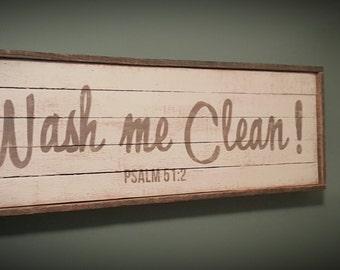 Barnwood Scripture Art - WASH ME CLEAN / Psalm 51:2