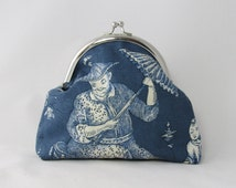 frame purse made of toile de jouy blue white purse for coins notes or make up utensils chinoiserie bag with silver frame handmade giftidea
