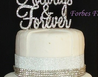 Set of 2 Large Real Rhinestone Always and Forever With Double Heart  Silver Wedding Love Cake Topper By Forbes Favors