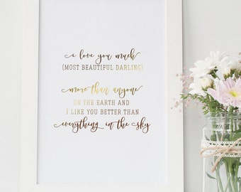 Gold Foil Print | Beautiful Darling | Motivational Print | Inspirational Quote | Typographic Print | Home Decor | Daughter Mother Love