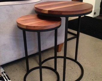 Wrought Iron and Walnut Nesting Tables