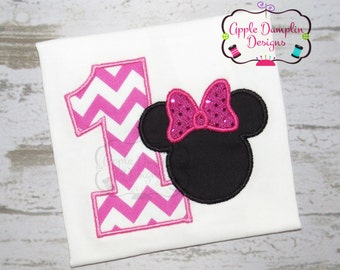 Minnie Mouse 1st Birthday Applique Design, Machine Embroidery Design, Girl Embroidery Design, Baby's 1st Birthday 4x4, 5x7, 6x10