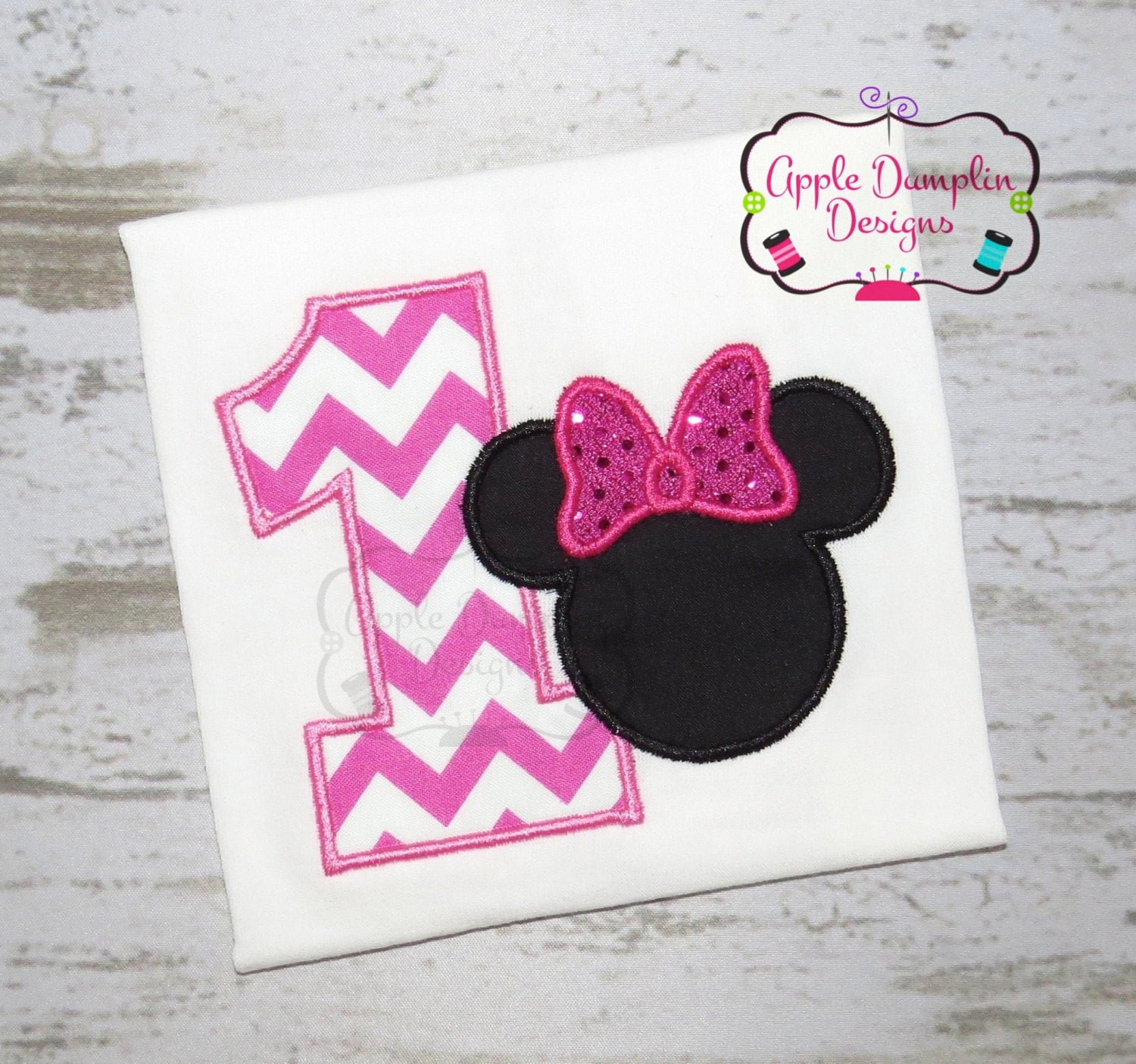 Minnie Mouse 1st Birthday Applique Design Machine Embroidery