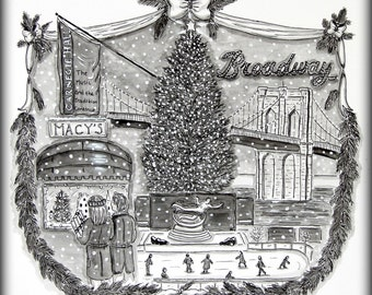 Christmas in New York Print 8 x 8  Black and White pen and Ink Watercolor Painting Holiday NYC Rockefeller Center Macy's Wall Decor