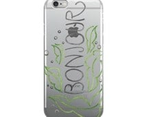 Bonjour Greeting Series Hand Lettered Clear iPhone Case