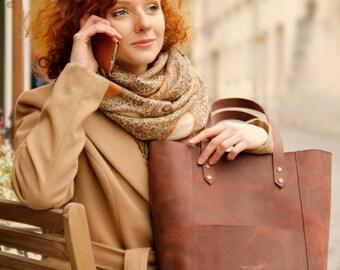 Leather shoulder tote bag, genuine leather shoulder handbag