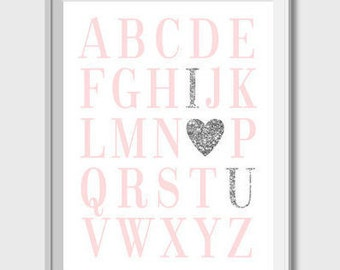 ABC Print Nursery Printable Wall Art Alphabet Print Pink And Silver Nursery Decor Baby Girl Nursery Print ABC Poster Pink Alphabet Printable