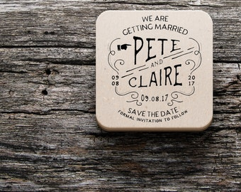50 Beer Mats Coaster Wedding Save the Dates Invitations!