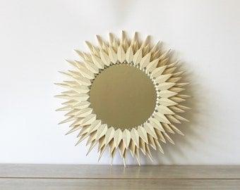 Round Sunflower Mirror, hand made plywood frame, geometric pencil drawing, diameter: frame 36 cm, mirror 17 cm
