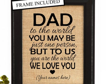 Fathers day 2016 , Father Gift, Burlap Print, DAD birthday gift, Unique Father Gift, Dad Gift Idea, Fathers Day Gift, New Dad Gift