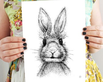 Bunny Rabbit - art print-  childrens art - Daisy Chain - Digital copy of etching