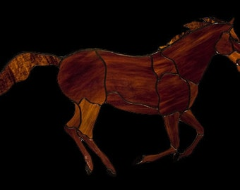 Stained glass galloping horse Tiffany glass window suncatcher. Horse stained glass window decoration.