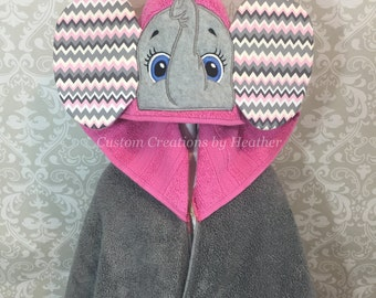 Girl Elephant with Chevron Print Ears Hooded Towel on High Quality Belk Department Store Towel