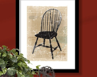 Windsor Chair 3 on tan background, chair art, windsor chair print, furniture art, distressed chair print, distressed background