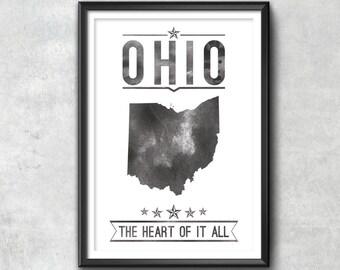 Ohio State Typography Print, Typography Poster, Ohio Poster, Ohio Art, Ohio Gift, Ohio Decor, Ohio Print, Ohio Love, Ohio Map, Ohio, home