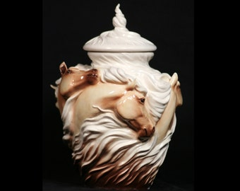 Spirits in the Wind ~ Horse Urn ~ Porcelain in Palomino. Elegant tribute to an avid horse lover or a loved horse