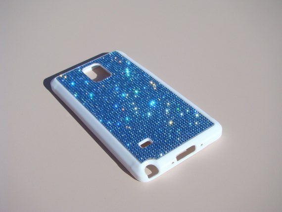 Galaxy Note 4 Blue Sapphire Rhinestone Crystals on White Rubber Case. Velvet/Silk Pouch Bag Included, Genuine Rangsee Crystal Cases.