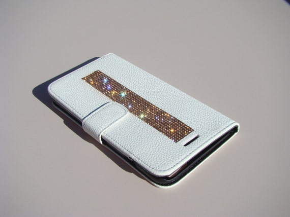 iPhone 6 Plus / 6s Plus Rose Gold Rhinestone Crystals on White Wallet Case. Velvet/Silk Pouch bag Included, Genuine Rangsee Crystal Cases.