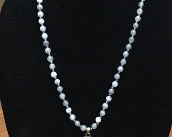 Labradorite Bead Antiqued Brass Finish Necklace
