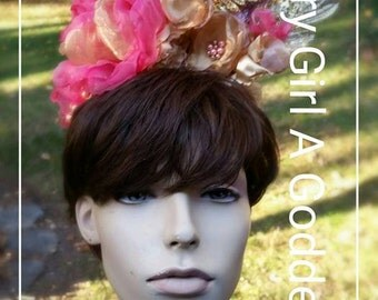Vintage Inspired Headpiece Rose Gold Sparkly Glittery Elegant Avant-garde Handmade Floral Headpiece - Game of Thrones - Lolita