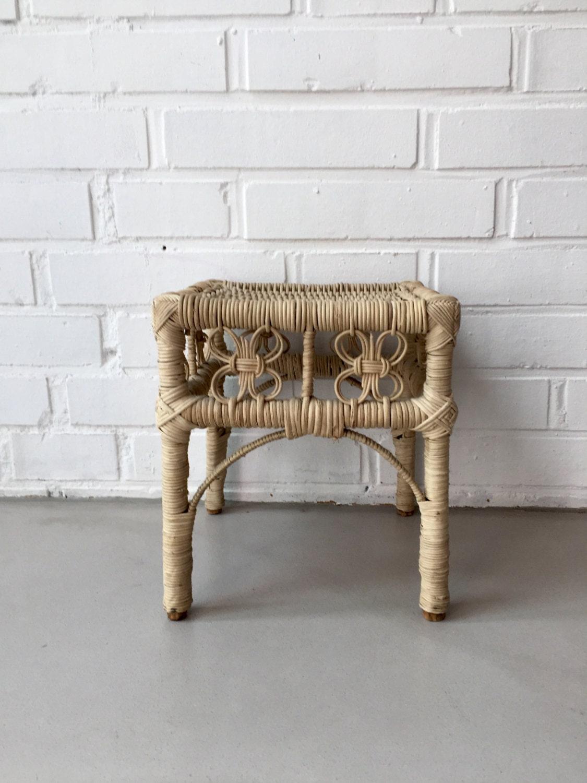 vintage chair rattan stool coffee table mid century