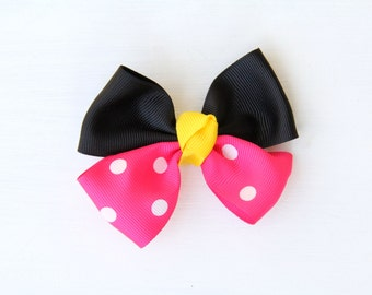 Minnie Mouse Hair Bow, Disney Hair Bow, Minnie Mouse Bow, Mickey Mouse Bow, Disneyland Bow, Disney Bow, Hair Bow, Hair Clip, Minnie Mouse