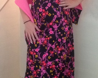 Vintage Dress hot pink Floral Maxi free people style