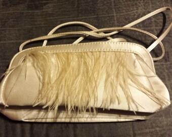 Claires Vintage faux Ostrich feather clutch, Vintage bridal clutch, blush wedding purse, great gatsby,wedding, biegebridesmaid clutch,