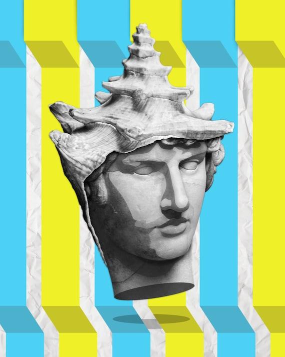 TEA033: Poseidon_Surreal Pop Art Collage Art Zodiac Ancient Greece Greek Epic Ocean God Sea Shell Color Black and White Digital Illustration