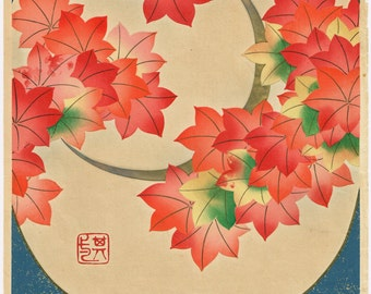 "1931, Japanese antique woodblock print, Ogata Korin, ""Album of Hundred Flowers by Artists of Rinpa School, Tinted autumnal leaves"""