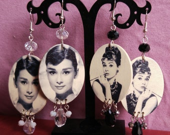 Audrey Hepburn's photo earrings with crystals