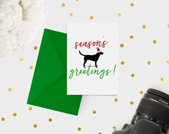 """PRINTABLE Holiday Card with Dog / Black Lab """"Seasons Greetings"""" / Instant Download"""