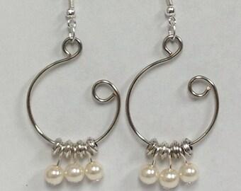 Pearl Silver Open Hoop Earrings