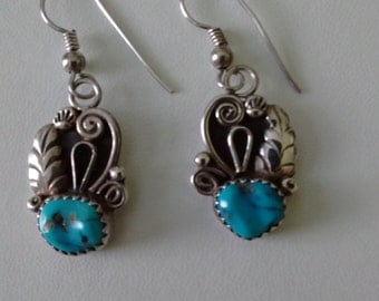 Sterling Silver and Turquoise Earrings, Vintage  Turquoise and Silver Earrings