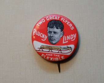 1920s Charles Lindbergh / Flexible Flyer Button