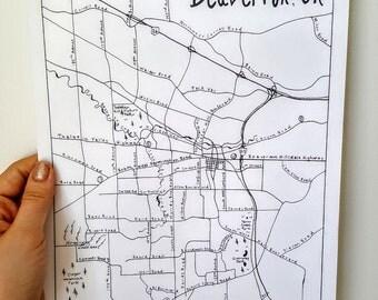 Beaverton, Oregon - Hand Drawn Map