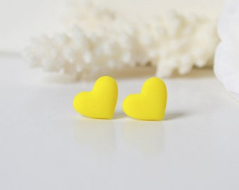 Yellow studs Black Friday sale Cyber Monday sale Christmas sale stocking stuffers Hostess Gift Gift under 10 yellow Heart stud minimal studs