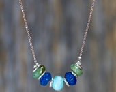 PERUVIAN BLUE OPAL slider necklace sterling silver blue green gemstone necklace rose gold fine silver simple modern elegat gifts for her